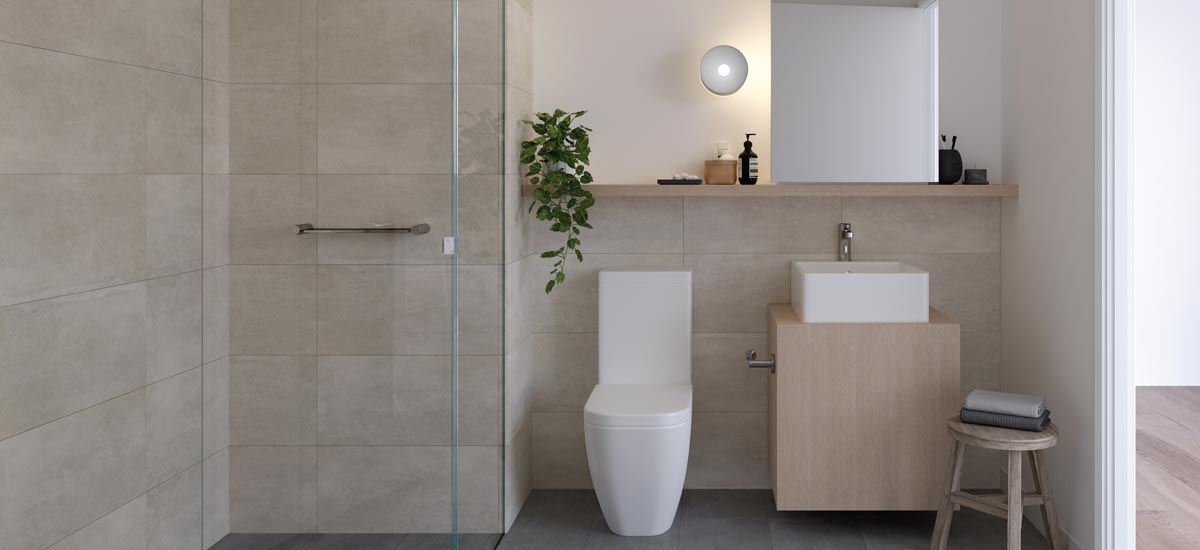 lancaster apartments west melbourne bathroom render