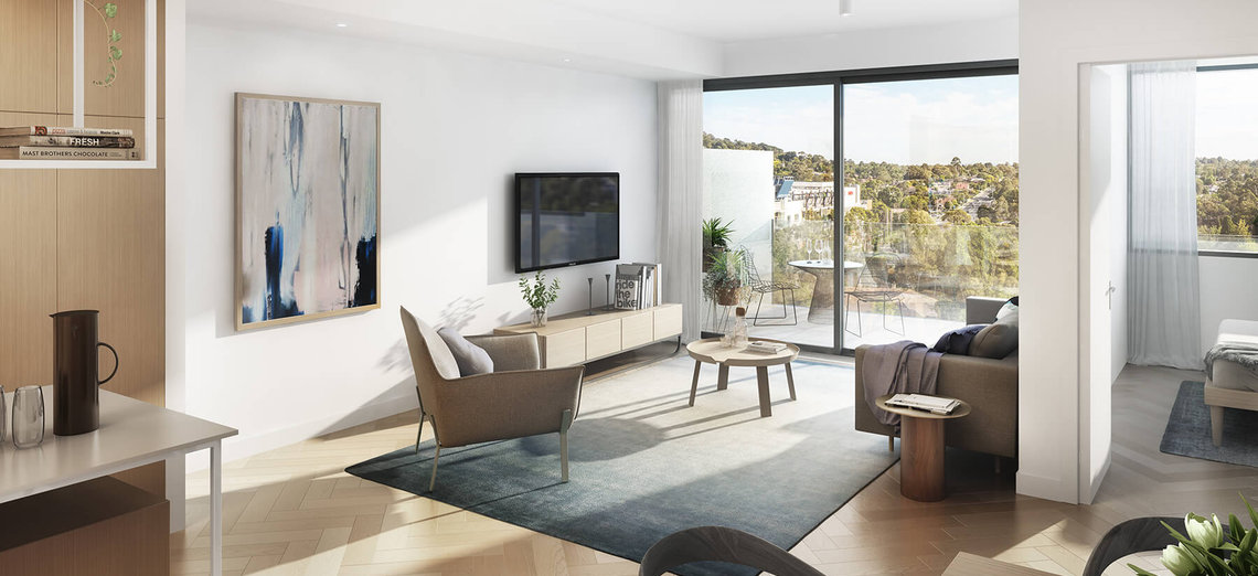 Living room area with views at 233 East Apartments