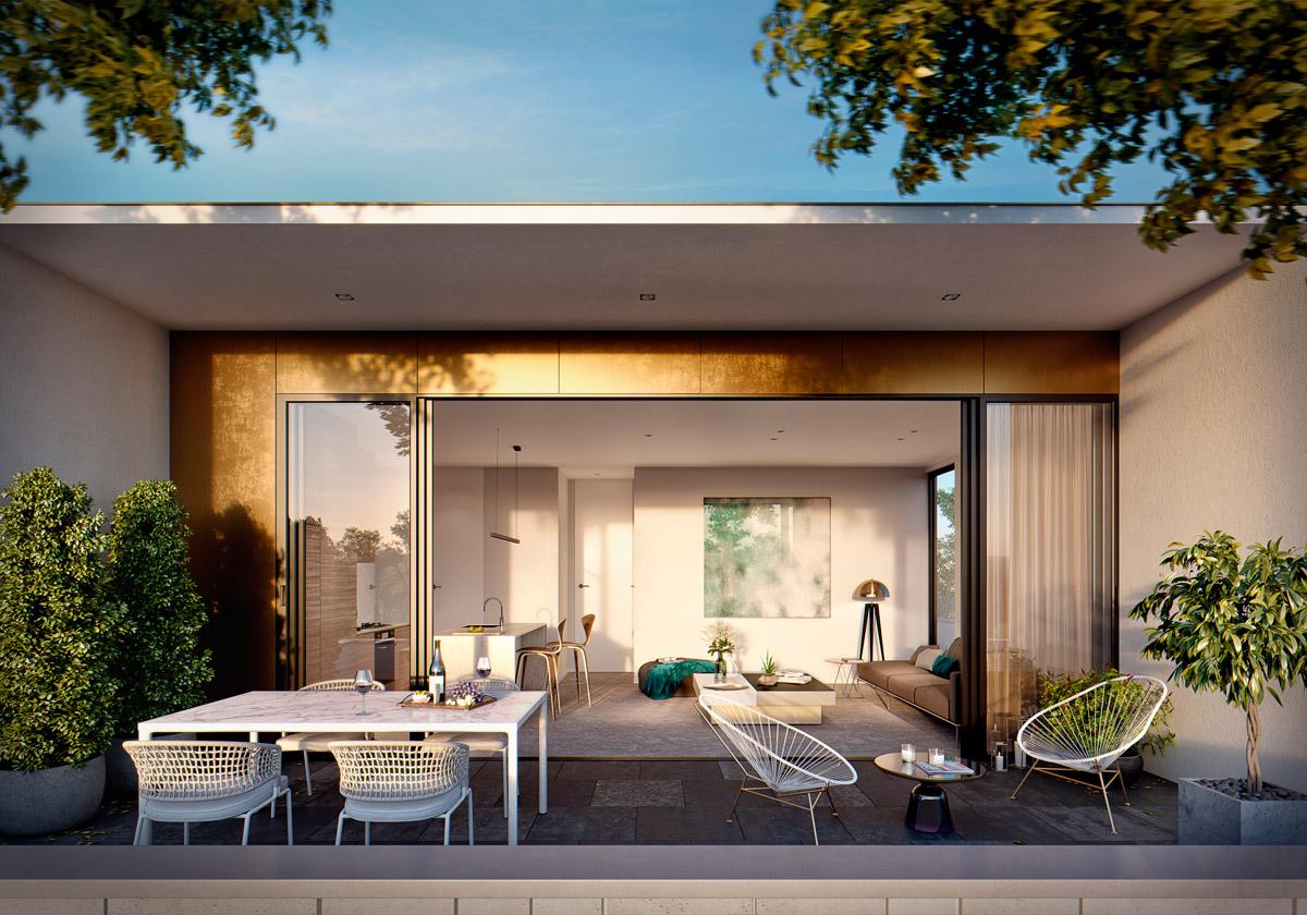 mckinnon living outdoor courtyard balcony melbourne apartment
