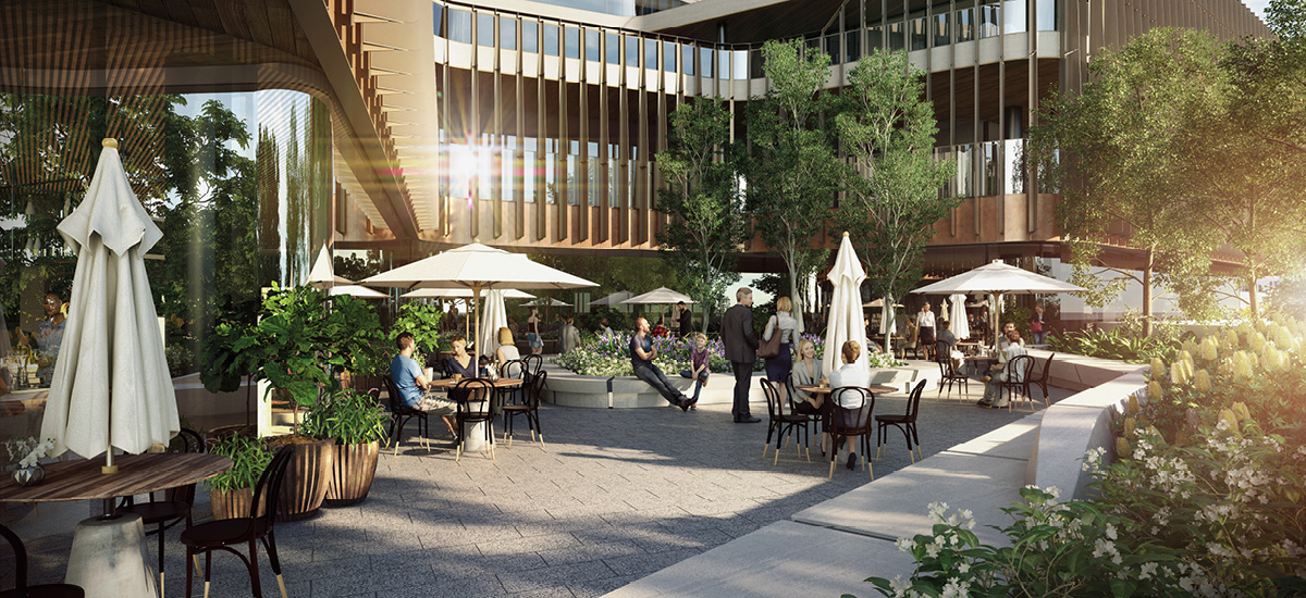 Melbourne Square park and retail precinct