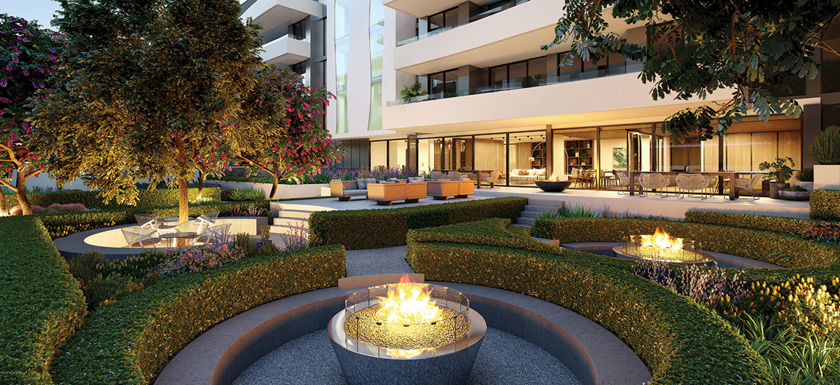 pavilion green apartments courtyard outside building amenities fire pit