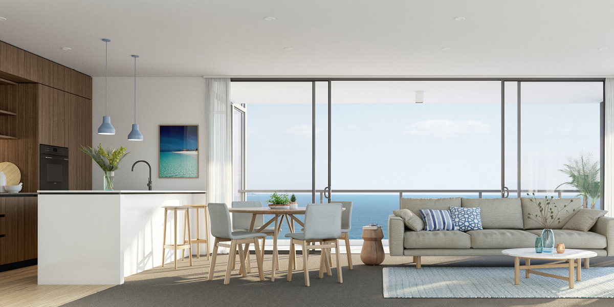 sandbar burleigh apartments off the plan ocean views kitchen living