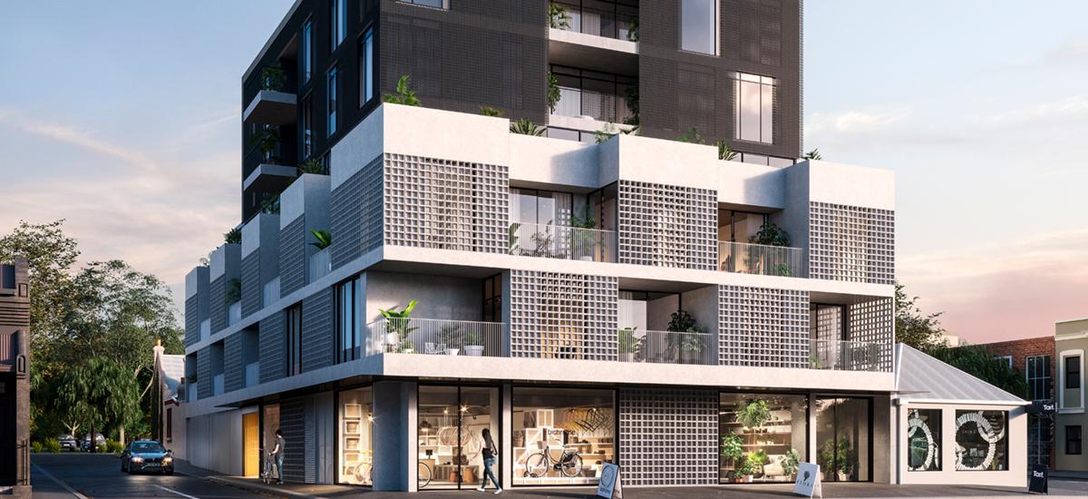 the rochester apartment exterior facade fitzroy