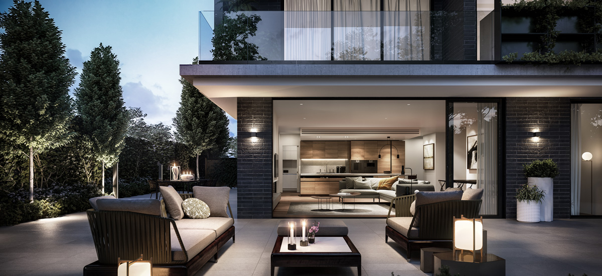 off the plan apartment for sale The Springfield Toorak courtyard