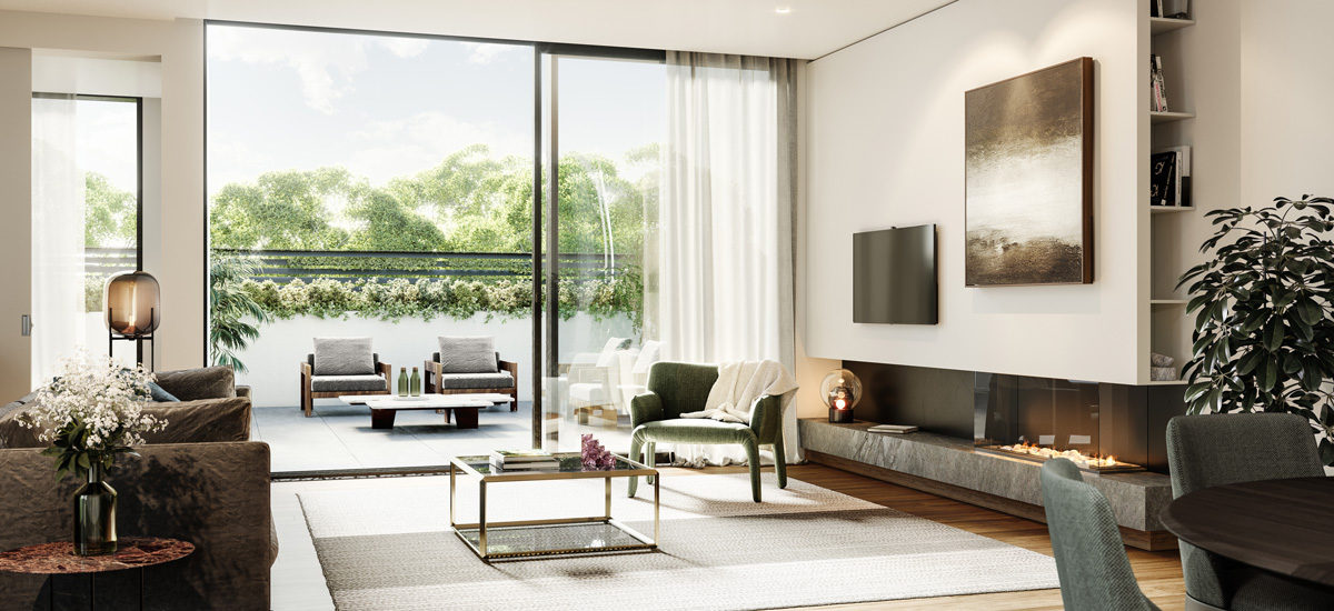 off the plan apartment for sale The Springfield Toorak living room