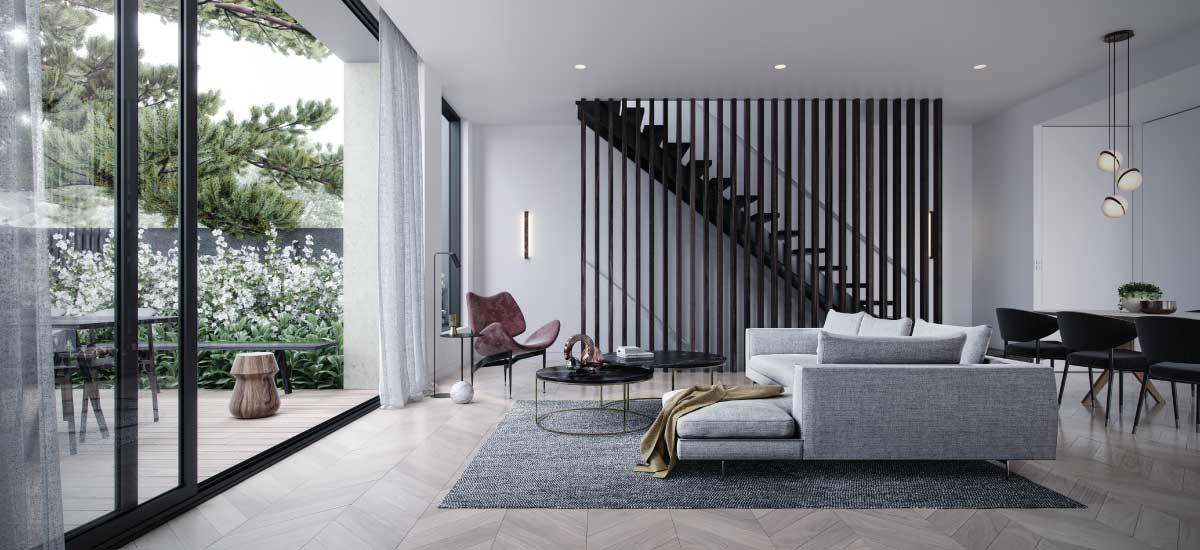 the woods apartment development off the plan living room melbourne