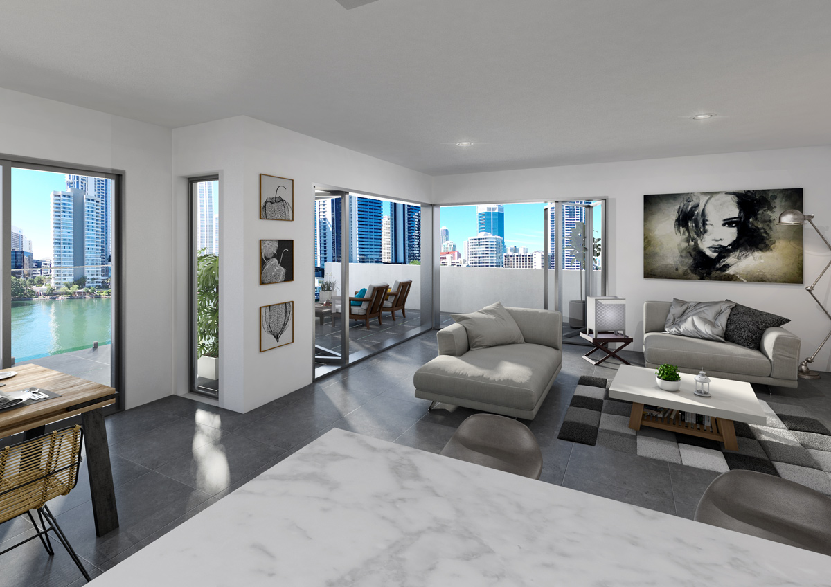 Modern living room in Tarcoola River Residences in Surfers Paradise Queensland