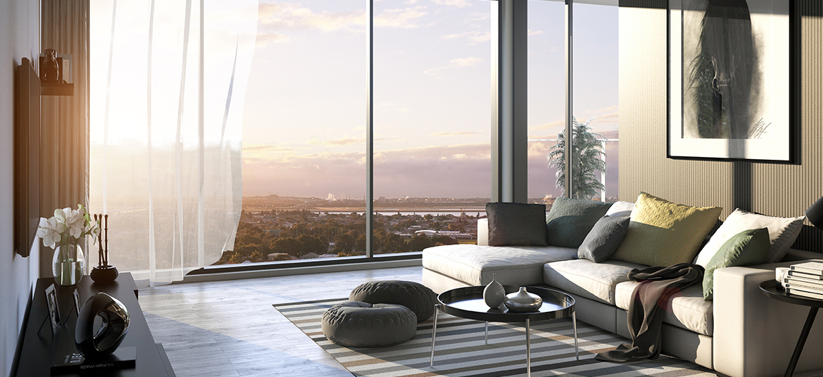 The Banks apartments living room with beautiful views