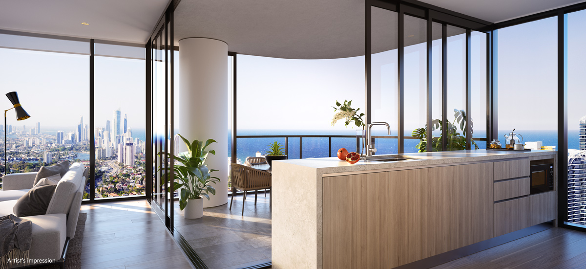 off the plan apartment for sale The Star Residences Gold Coast dining and balcony