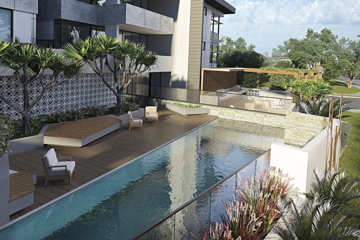 Zinc apartment pool in Kirra Queensland